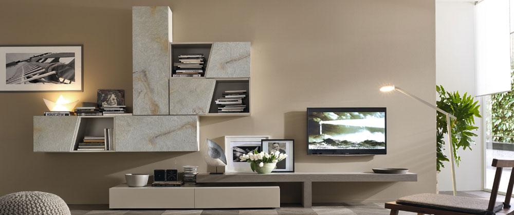 Arredamento living soggiorno pareti attrezzate campania for Pareti attrezzate lago