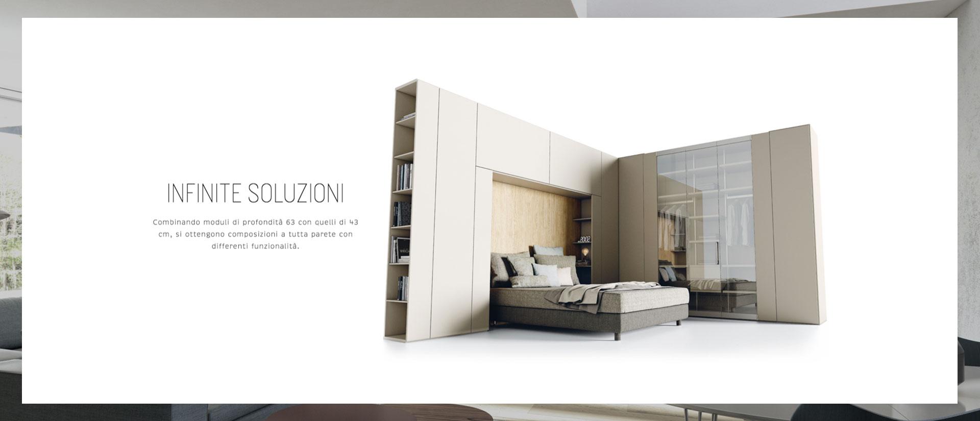 Il sistema abitativo Roomy è esposto a Napoli nel centro arredamenti Casadesign