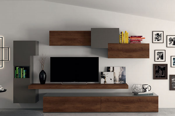 Arredamento living soggiorno pareti attrezzate campania for Parete attrezzata design moderno