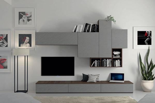 Arredamento living soggiorno pareti attrezzate campania casadesign - Parete attrezzata moderna con camino ...