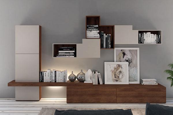 Arredamento living soggiorno e pareti attrezzate for Parete attrezzata design moderno