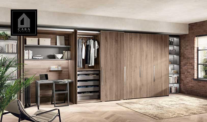 Con il sistema BoxLife è possibile integrare in un unico ambiente (nel rispetto delle personali esigenze) angolo studio, armadio con anta scorrevole e libreria.