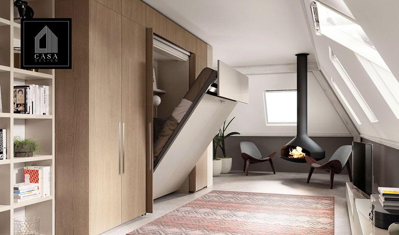 Camera da letto moderna con letto a scomparsa