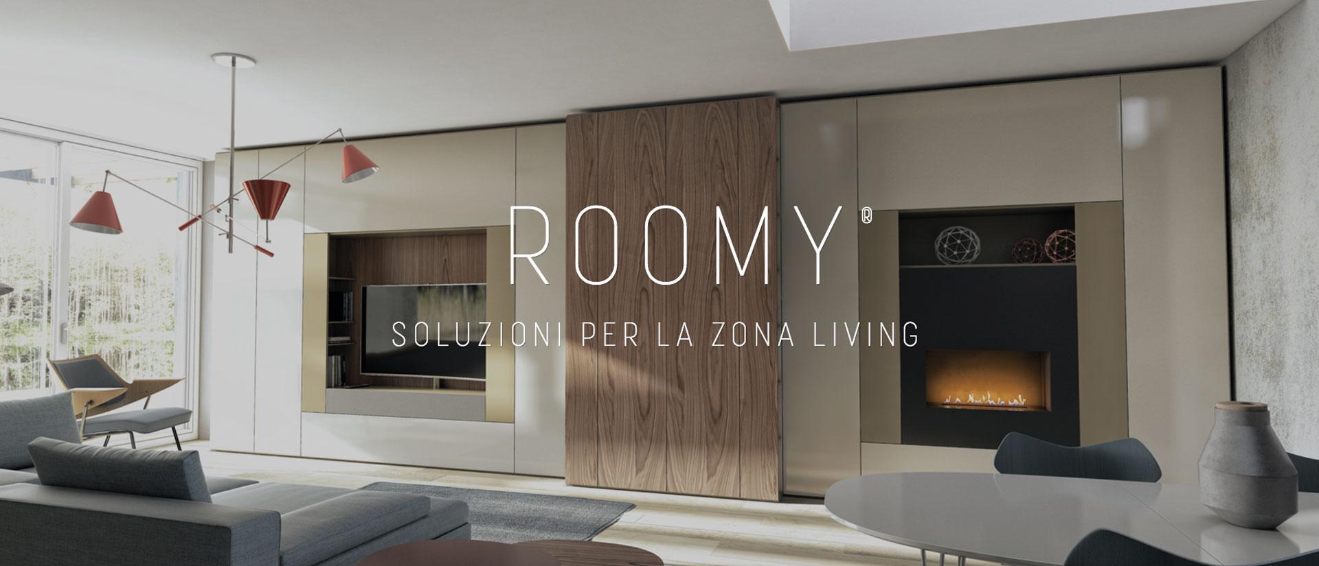 Roomy, il sistema abitativo moderno Caccaro in esposizione nel centro arredamenti in campania casadesign arredamenti