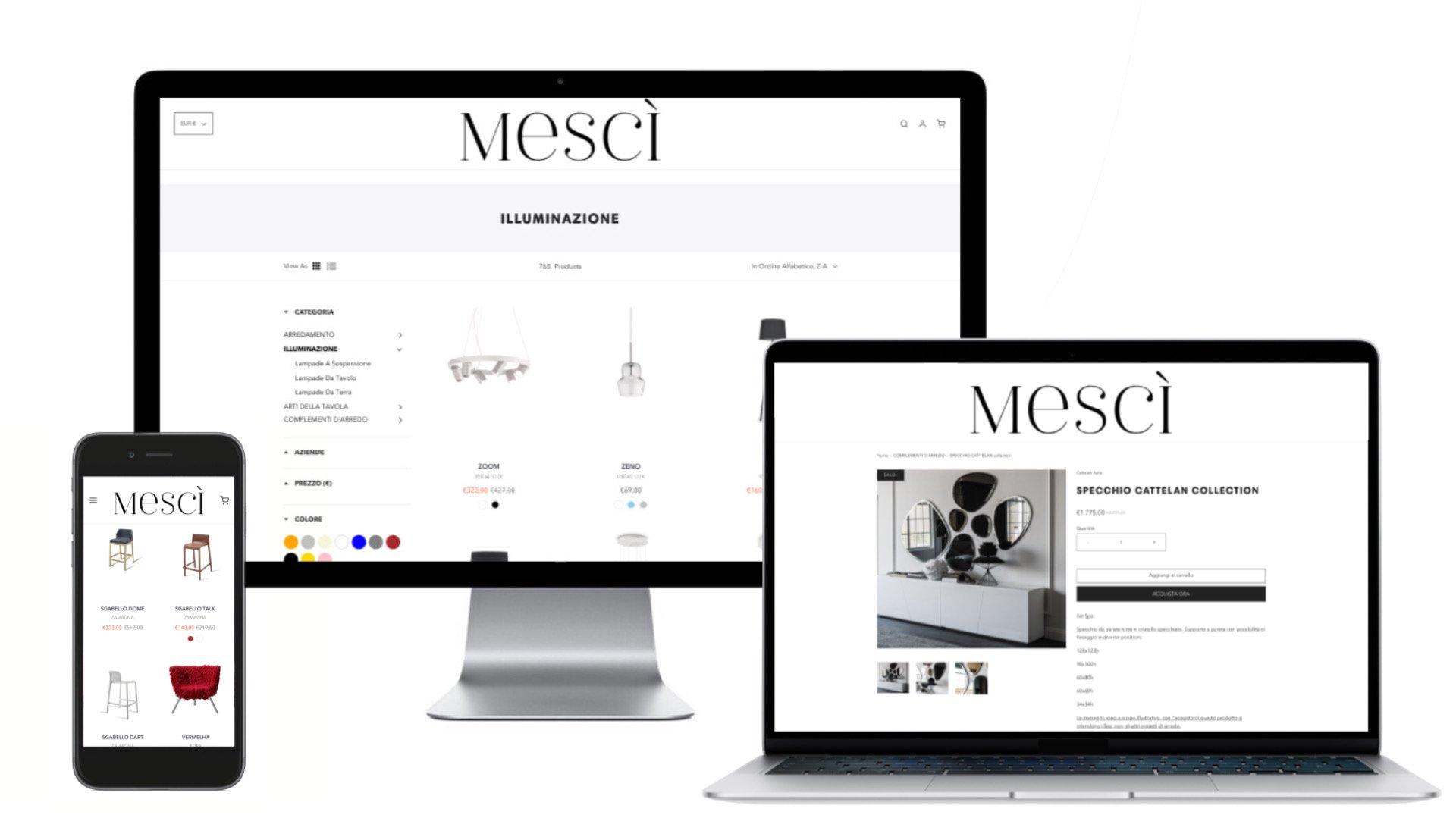 Mescì, E-commerce arredamento